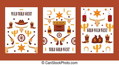 Wild West set of banners with isolated icons, vector ...