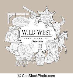 Wild West Set Vintage Sketch