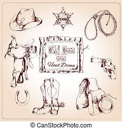 Wild west set - Wild west cowboy hand drawn set with saddle...