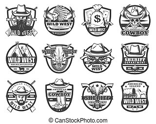 Wild West sheriff, American cowboy, skull and guns