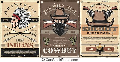 Wild West sheriff, cowboy and indian chief