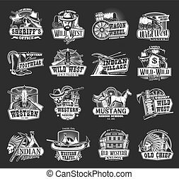 Wild West sheriff, Western cowboy and skull icons