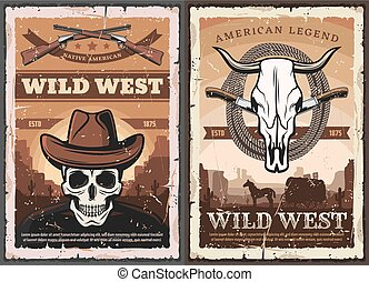 Wild West skull in cowboy hat, American Western