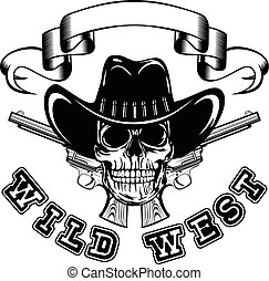 Vector illustration cowboy skull in hat and two revolvers. Lettering wild west.