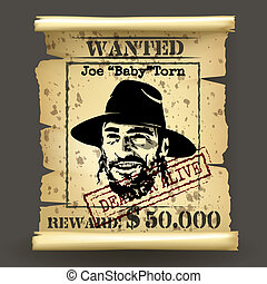Wild west style wanted poster on dark background
