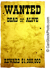 Wild West styled poster, holes of bullets on it - just put your photo here! Photo of design paper sheet, stylized in PS, added text. Isolated.