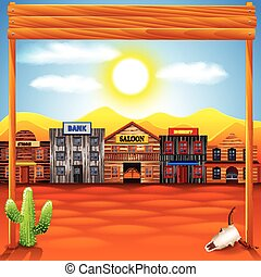 Wild west town panorama photo realistic vector background