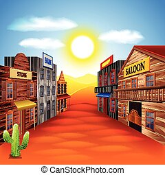 Wild west town vector background - Wild west town photo...