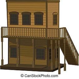 Wild West two-story house - wooden two-story light brown ...