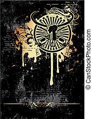Wild West vignette golden - Black grunge background with ...