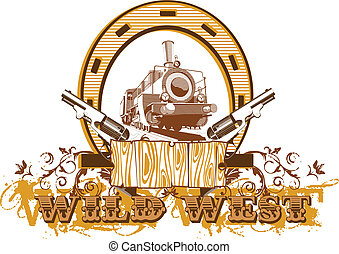 "Vectorial image on a theme wild west with inscription ""Wild West"""