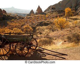 Abandoned wild west wagon in desolated Cappadocia, Turkey.