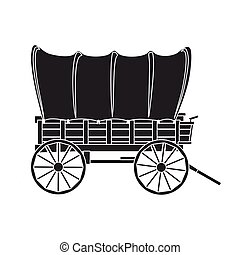 Wild west wagon vector icon. Black vector icon isolated on ...