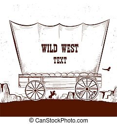 Wild west wagon with american prairies. Vector illustration background
