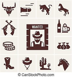 Wild West wanted poster and associated icons of crossed guns...
