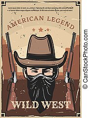 Wild West western bandit and rifle carbine