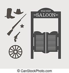 Wild West - Western icons. Saloon door silhouette. Vector ...
