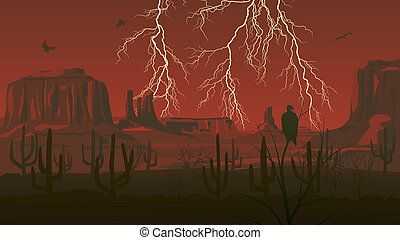 Wild west with lightning. - Horizontal cartoon illustration ...