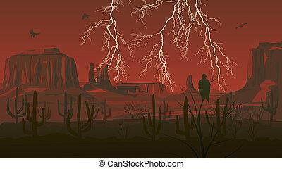 Wild west with lightning. - Horizontal cartoon illustration ...