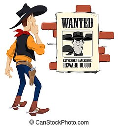 Wild west world. Cowboy next to wanted poster. Funny people...