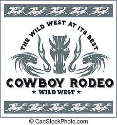 wild westen, -, cowboy, rodeo., vector, emblem.