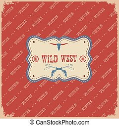 wild westen, etiket, achtergrond.