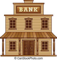 wild westen, gebouw, bank