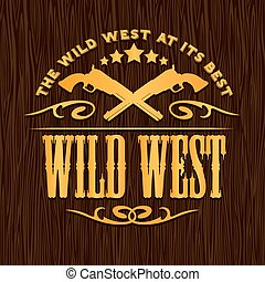 wild westen, ouderwetse , vector, kunstwerk, voor, jongen,...