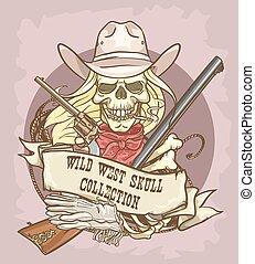wild westen, schedel, etiket