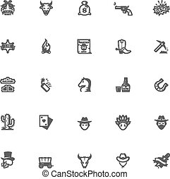 wild westen, set, pictogram