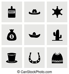 wild westen, vector, set, pictogram
