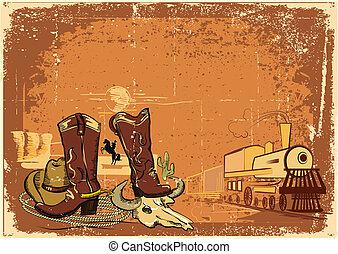 wild western background on old paper texture. Grunge