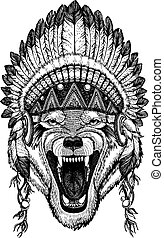 Wild wolf, dog. Animal wearing inidan headdress with...