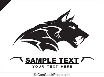 head of the one of canine beast, suitable for team or community identity, Mascot or sport club logo, insignia, embellishment, emblem. illustration for apparel, etc.