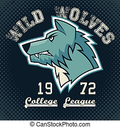 Wild wolves sports mascot college league t-shirt graphic