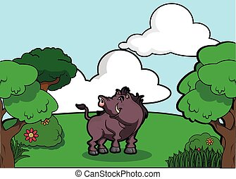 Wildboar and Forest scenery