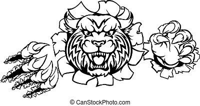 Wildcat Angry Mascot Background Claws Breakthrough