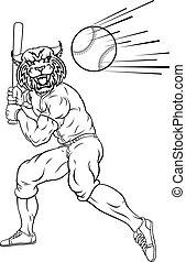 Wildcat Baseball Player Mascot Swinging Bat