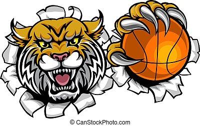 Wildcat Basketball Ball Mascot