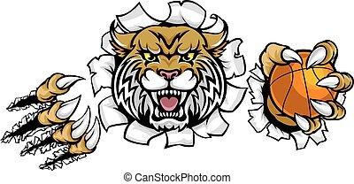 Wildcat Basketball Ball Mascot