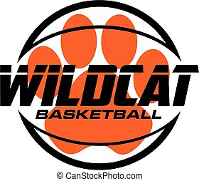 wildcat basketball team design with large paw print inside...