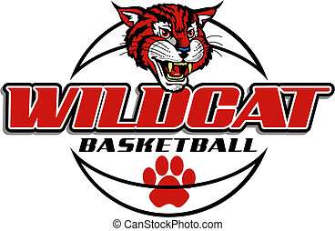 wildcat basketball design with mascot head and ball