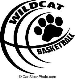 wildcat basketball team design with paw print inside ball...