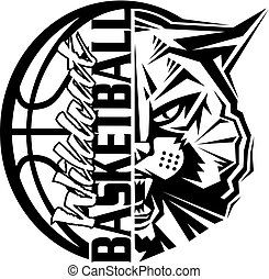 wildcat basketball team design with ball and mascot for school, college or league