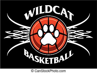 wildcat basketball team design with tribal net for school, ...