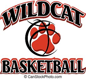 wildcats basketball team design with paw print inside ball for school, college or league
