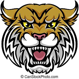 Wildcat Bobcat Mascot - An angry looking wildcat or bobcat...