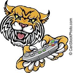 Wildcat Bobcat Player Gamer Mascot