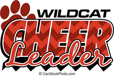 wildcat cheerleader team design with chevrons and paw print