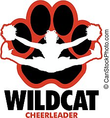 wildcat cheerleader team design with girl doing a toe touch...